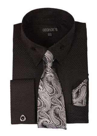 Mens French Cuff Dress Shirt - Paisley Tie Set Black AH619