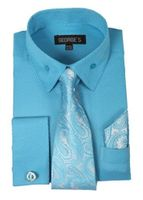 Mens French Cuff Dress Shirt - Paisley Tie Set Turquoise AH619