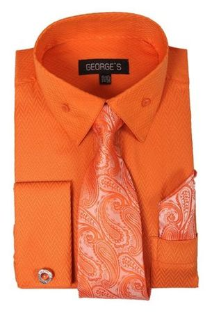 Mens French Cuff Dress Shirt - Tie Hankie Combo Orange AH619