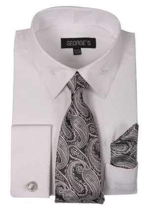 Mens Herringbone French Cuff Dress Shirt - Tie Hankie Set White AH619