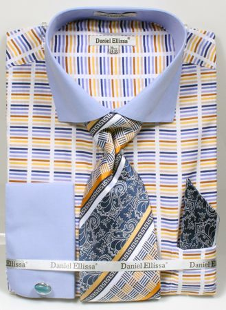 DE Mens French Cuff Dress Shirts Blue Stripe Tie Set DS3783P2 - click to enlarge