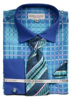 DE Men's French Cuff Style Dress Shirts Turquoise Bold Pattern Tie Set DS3785P2