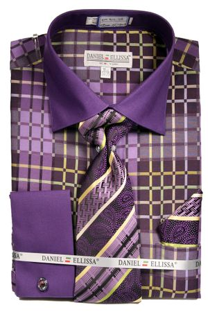 DE Mens Bold French Cuff Dress Shirt Purple Unique Tie Set DS3785P2 - click to enlarge