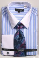 Mens French Cuff Shirt Tie Set Blue Double Stripe DN87M