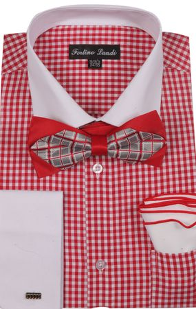 Milano Mens Red Check French Cuff Bow Tie Shirt Set FL628