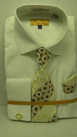 Mens French Cuff Shirt Tie Set By Bruno Ivory Paisley Bc1005