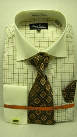 Mens French Cuff Shirt Tie Set by Bruno Ivory Windowpane BC997 - click to enlarge