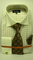 Mens French Cuff Shirt Tie Set by Bruno Ivory Windowpane BC997