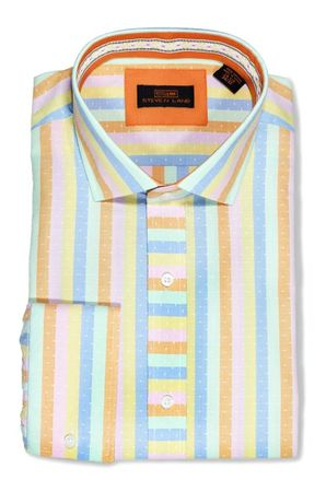 Steven Land Pastel Stripe Cotton French Cuff Dress Shirts DA1640 - click to enlarge