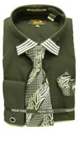 Mens French Cuff Shirt Tie Set by Prime Time Black Stripe Collar FC99