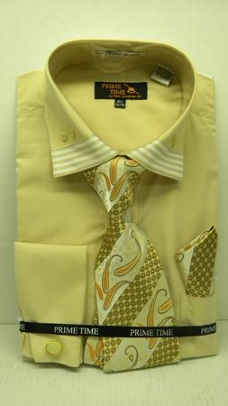 Mens French Cuff Shirt Tie Set by Prime Time Tan Stripe Collar FC99  - click to enlarge