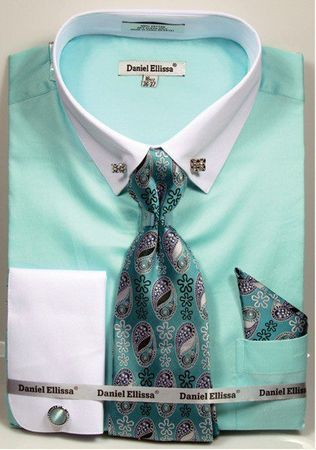 Mens Mint White Collar Bar Style Dress Shirts Tie Combo DS3790P2 Size 17.5 34/35 Final Sale  - click to enlarge