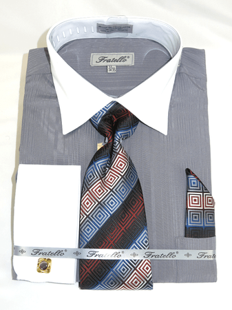 Mens French Cuff Shirt Tie Set Gray Shadow Stripe Fratello FRV4140P2 - click to enlarge
