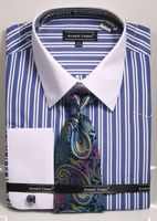Mens French Cuff Shirt Tie Set Royal Double Stripe DN87M