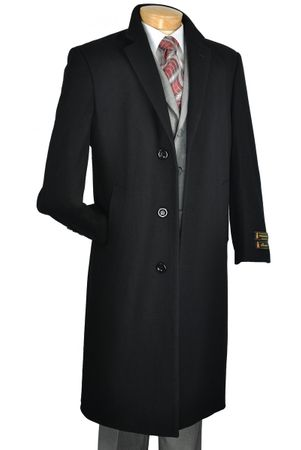 Mens Full Length Black Wool Overcoat Vinci CL48-1 - click to enlarge