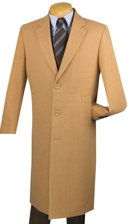 Mens Full Length Camel Color Wool Overcoat Vinci CL48-1 - click to enlarge