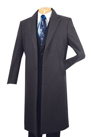 Mens Full Length Charcoal Gray Wool Overcoat Vinci CL48-1 - click to enlarge