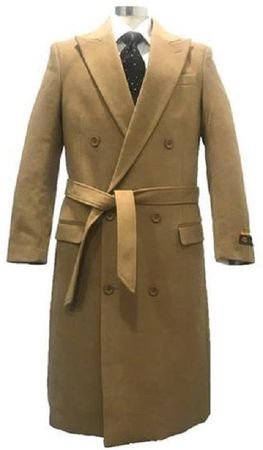 Men's Camel Double Breasted Wool Overcoat Alberto DB-COAT - click to enlarge