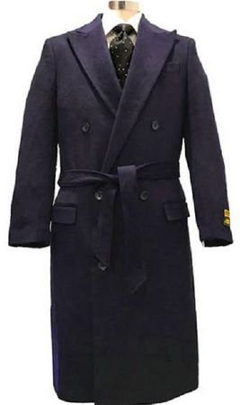 Men's Navy Blue Double Breasted Wool Overcoat Alberto DB-COAT - click to enlarge