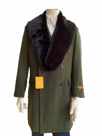 Mens Fur Collar Double Breasted Wool Car Coat Olive Manhattan Alberto IS - click to enlarge