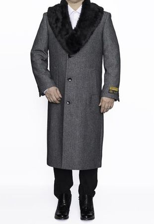 Mens Fur Collar Grey Herringbone Wool Coat Full Length Alberto Nardoni - click to enlarge