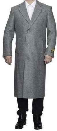 Mens Winter Coat Light Gray Wool Full Length Alberto Coat03 - click to enlarge