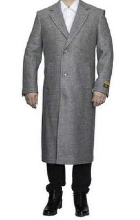 Mens Winter Top Coat Light Gray Wool Full Length Alberto Coat03 - click to enlarge
