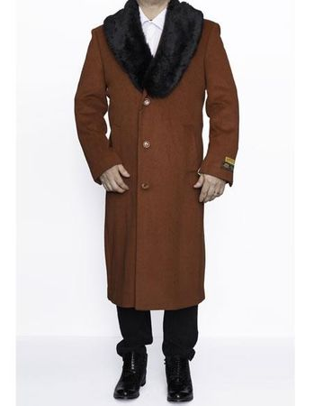 Mens Fur Collar Rust Color Wool Coat Full Length Alberto Nardoni - click to enlarge