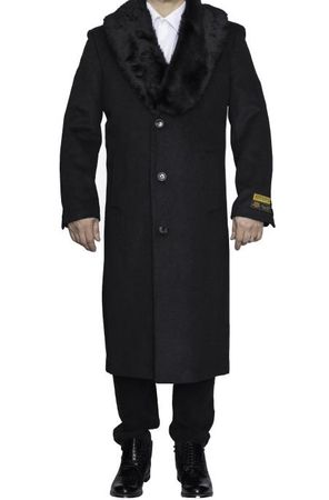 Mens Fur Collar Wool Coat Charcoal Full Length Alberto Nardoni - click to enlarge