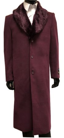Falcone Mens Fur Collar Overcoat Burgundy Full Length Vance 4150 IS - click to enlarge