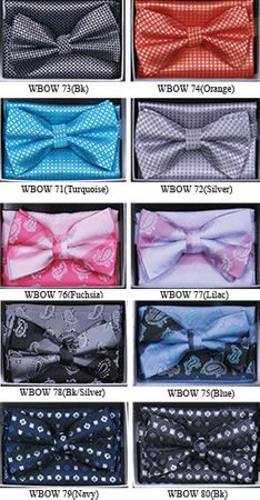 Mens Geo Pattern Bow Tie Hanky Sets WBOW-6 - click to enlarge