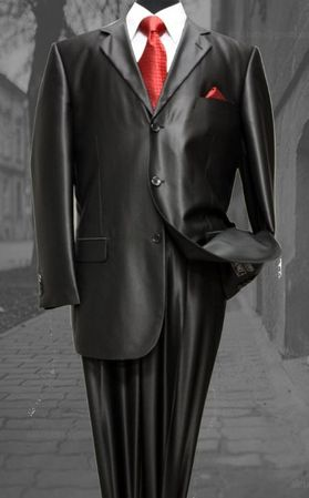 Mens Glossy Black Sharkskin Suit 3 Button Fortini 58025