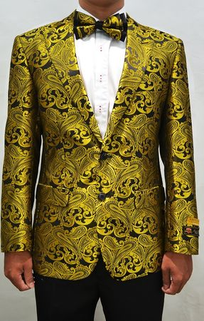 Mens Gold Paisley Modern Fit Blazer Dinner Modern Fit  Jacket Alberto Paisley-100