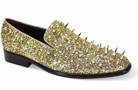 Mens Gold Spiked Loafers Smoking Slip On 6788