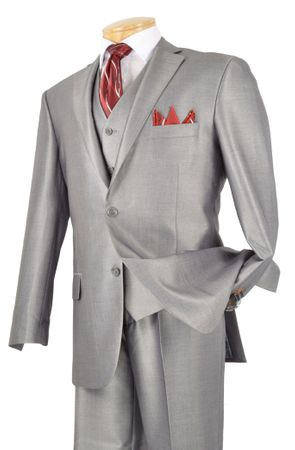 Sharkskin Suit Mens Shiny Gray Metallic 3 Piece V2RR-1