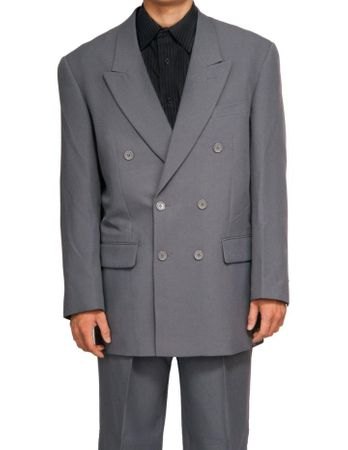 Mens Gray Double Breasted Suit Vittorio Z762TA Size 40L Final Sale