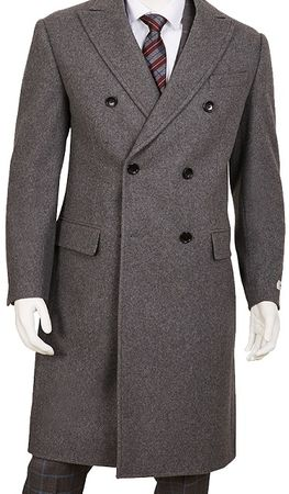 Mens Gray Double Breasted Wool Overcoat Vittorio COAT92 IS - click to enlarge