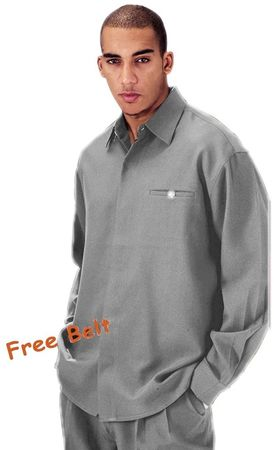 Mens Gray Dress Outfits Long Sleeve Milano L2612