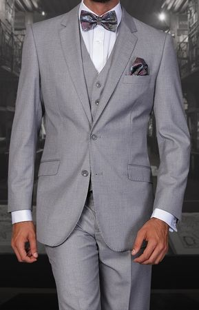 Mens Gray Modern Fit Italian Wool 3 Pc. Suit Vest Alberto S2BV-100 - click to enlarge