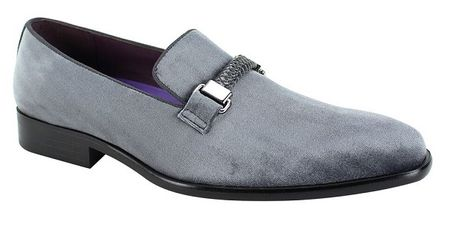 Mens Gray Pewter Velvet Designer Slip On Party Loafers AM 6753 Size 10,11