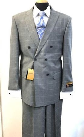 Men's Gray Plaid Double Breasted Suit 6 Button Alberto DB-1 - click to enlarge