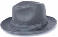 Mens Gray PU Leather Fedora Hat Bruno FD-303