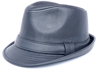 Mens Gray PU Leather Stingy Brim Hat Bruno FD-283