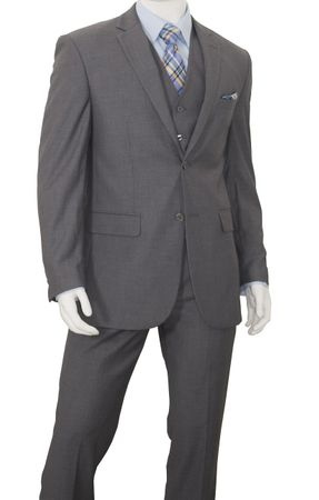 Mens Gray Three Piece Conservative Business Suit Vittorio C602FV - click to enlarge