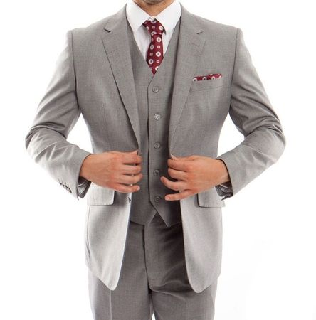 Men's Gray 100% Wool 3 Piece Vest Suit Plain Front Pants MW249