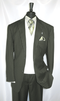 Mens Green Gangster Stripe 1920s Cotton Club Suit V2RS-6