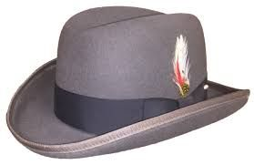 Mens Grey Godfather Hat 100% Wool Homburg Corleone 4201