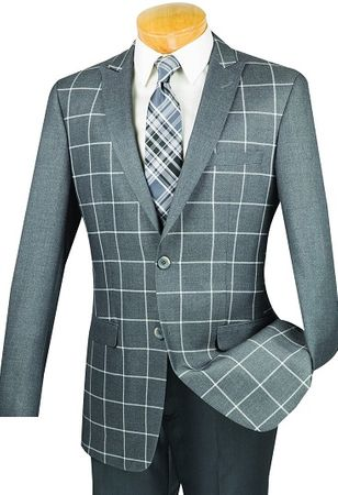 Mens Grey Slim-Fit Window Pane Fashion Dinner Jacket- Vnci BS-09 - click to enlarge