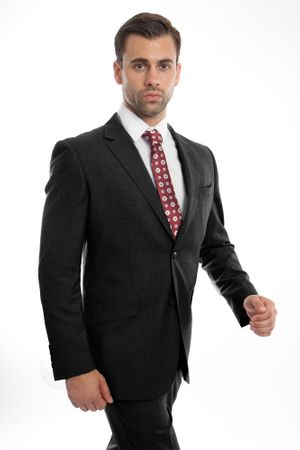 Men's Heather Black Wool Suit Two Button Pick Stitch ZeGarie MW246-01 - click to enlarge