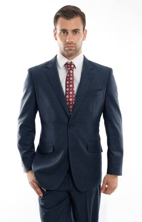 Men's Heather Blue Wool Modern Fit Suit 2 Button Pick Stitching ZeGarie MW246-04 - click to enlarge